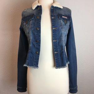 Hudson Rebel Heart distressed cropped jean jacket